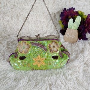 Vintage Satin lined Sequin/Beaded Evening Bag